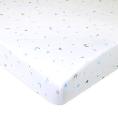 American Baby Company Printed 100% Natural Cotton Jersey Knit Fitted Portable/Mini-Crib Sheet, Blue Stars and Moons, Soft Breathable, for Boys and - Sheet Crib Blue Organic