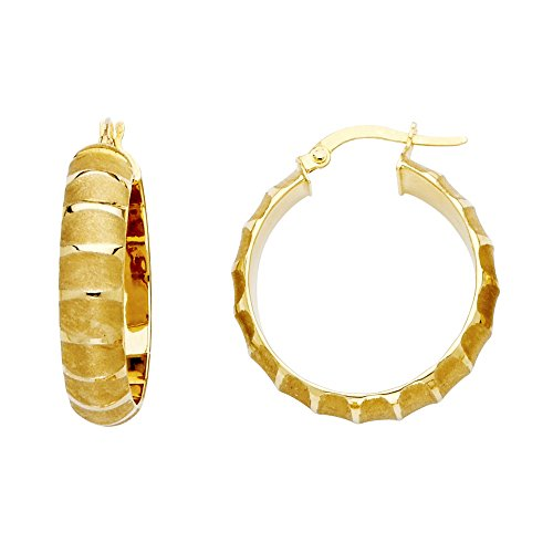 Jewels By Lux 14K Yellow Gold Medium Sandblast Finish Hoop Womens Earrings 25MM X 25MM ()