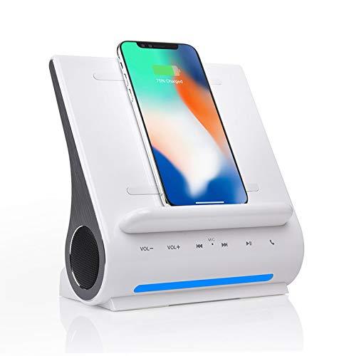 Azpen Dockall D108 Qi Wireless Charging Dock w/Bluetooth Speakers. Qi Wireless Certified. Works with iPhone Xs Max/XR/XS/S/ 8/ 8Plus. Galaxy S10/ S9/ S9+/ S8/ Note 9 - White