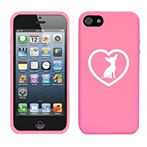 Apple iPhone 5c Silicone Soft Rubber Skin Case Cover Chihuahua Heart (Pink)