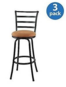 Inch Black Metal Swivel Counter Stools with Full Back Bar and Upholstered Cushion Seats Set of 3
