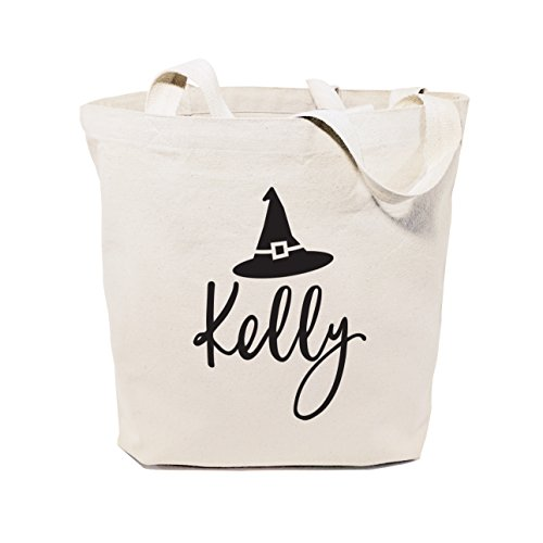 The Cotton & Canvas Co. Personalized Name Witch Reusable Halloween Tote, Trick or Treat Bag, Kid's Candy Sack ()