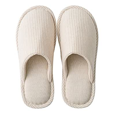 Fendou Comfortable Slippers Summer Linen Washable Breathable Cotton Open Toe House Slippers for Women Beige Size: 5-5.5