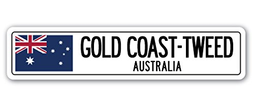 GOLD COAST-TWEED, AUSTRALIA Street Sign Australian flag city country road gift