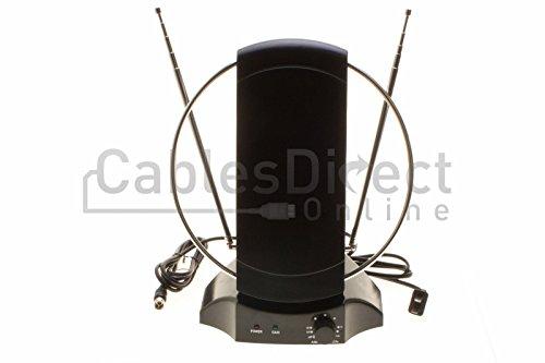 - Digital Signal Indoor Leaf Flat TV Antenna For HDTV DTV HD VHF UHF FM AM FTA High Gain ... (Indoor, 55 Miles (Black))