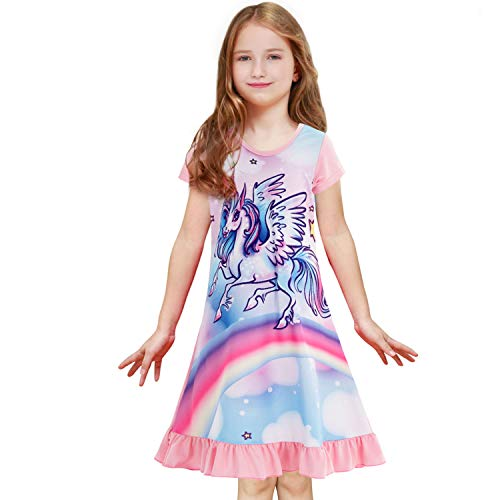 Sylfairy Girls Nightgown Rainbow Unicorn Sleepwear Nightie Princess Night Dresses Pajamas Dress for Kids (Light Pink+Unicorn,8-9Years)