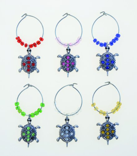 Puzzled Sea Turtle Wine Charms (Set of 6)