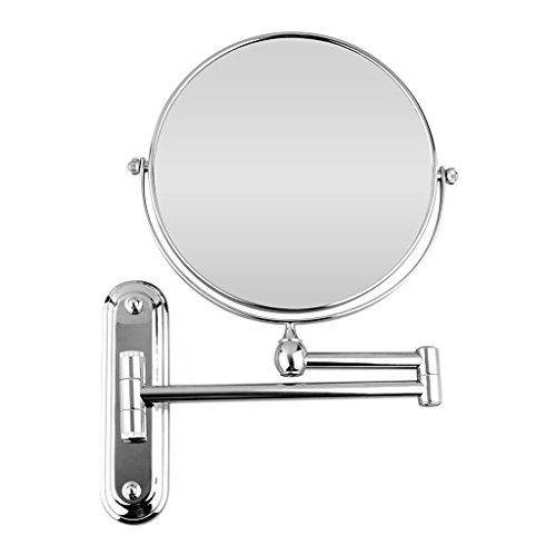 BTSKY™ Chrome Finish ,360 Degree, 12-Inch Extension, 8-inch Two-Sided Swivel Wall Mounted Mirror, Extending Folding Bathroom Shaving Cosmetic Make Up Mirror(10 x Magnification) (Extending Bathroom Mirror)