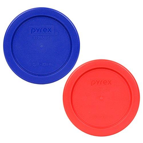 Pyrex 7202-PC 1 Cup (1) Cadet Blue (1) Red Round Plastic Food Storage Lids ()