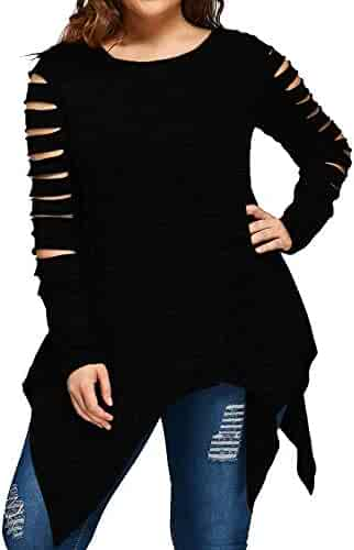 64bef9f3 LISTHA Plus Size Tunic Tops Womens Long Sleeve Fashion Blouse Hollow Out T- Shirt