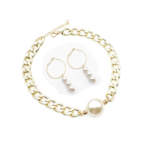 Single Big Pearl Choker Necklace Set Simulated Pearl Dangle Hoop Earrings Chunky Cuban Link Chain for Women Girls ()