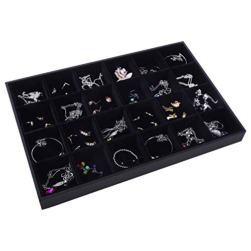 AUTOARK Velvet Stackable 24 Grid Jewelry Tray Showcase Display Organizer,Black,AJ-032