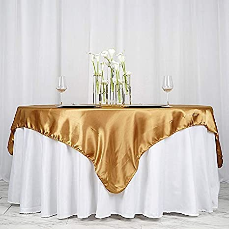 58 X 120 132 72 Tablecloth Satin Cover Table Overlay 90 Gold Round Kitchen Dining Home Living
