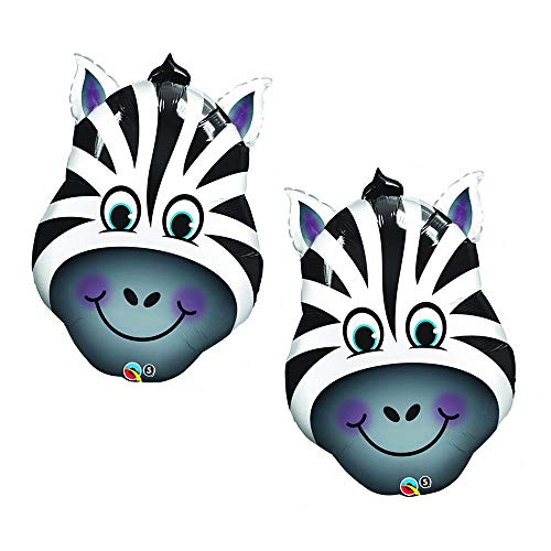 Set of 2 Smiling Zebra Head Exotic Zoo Animal Jumbo 32'' Foil Party Balloons by Artisan Owl