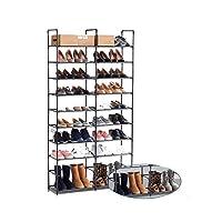 ORAF Shoe Bench, 10 Tier 50 Pairs Shoerack Tower Organizer, Freestanding Adjustable Shoe Rack