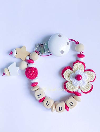 Catenella porta ciuccio rosso   con fiore a uncinetto   nome personalizzabile
