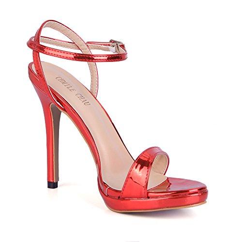 a CHAU da Borgogna Cinturino Sandali Moda a Sposa Caviglia Eleganti Tacco Scarpe Spillo Nuziale CHMILE Alto Partito Piattaforma Donna alla 1cm RBASqww