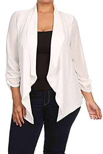 Womens Plus Size Solid Relaxed Fit Open Front Blazer With Draped Neck MADE IN USA (3X, White)