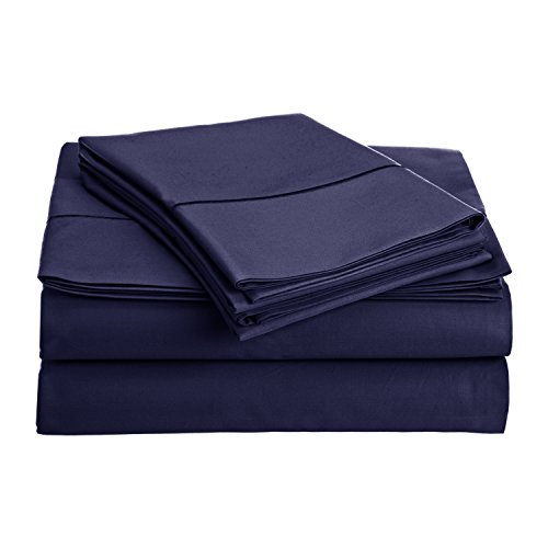 Audley Home COLLECTION 800-Thread-Count Egyptian Cotton Deep Pocket Sateen Weave Sheet Set (QUEEN,NAVY BLUE) (Satin Woven Sets Sheet)