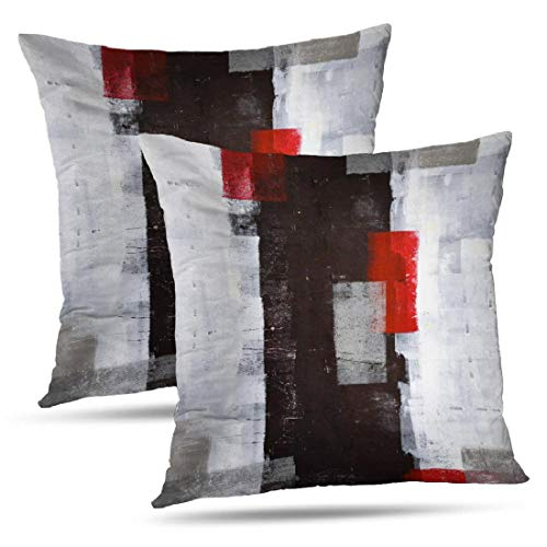 Alricc Red and Grey Abstract Art Pillow Cover, Modern Black White Wall Decorative Throw Pillows Cushion Cover for Bedroom Sofa Living Room 18X18 Inches Set of 2 (Red Grey And Pillows)