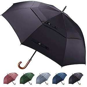 Prospo 55/62 inch Wooden J Handle Hook Golf Umbrella Classic Large Auto Open Double Canopy Vented Windproof Rainproof Walking Stick Umbrella for Men Women, Black, 55in