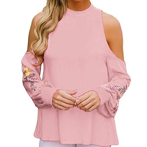 Brod Neck Rose Shirt Mode DEELIN Femmes Longues paule Bretelles Tops sans Manches Blouse Lache T O Casual Hors qtTFRwTPg