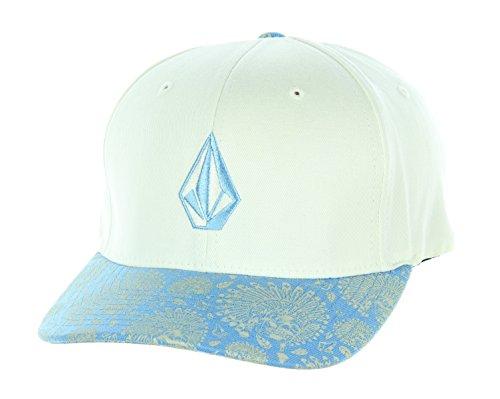 Volcom Full Stone Print White/Blue Flexfit Hat Cap Small/Medium