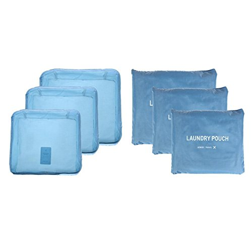 WinnerEco Travel Bag 6Pcs Travel Storage Bag Clothes Organizer Tidy Container(Light Blue) by WinnerEco