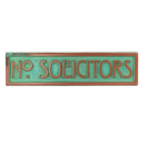 - Mini Stickley Font No Solicitors Plaque 8x2 - Raised Copper Verdi Metal Coated Sign