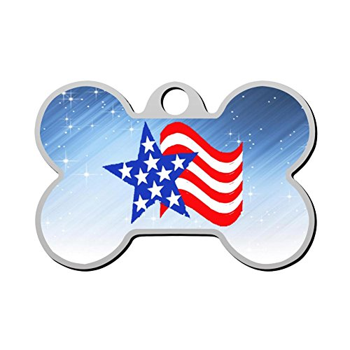 Stripe Steel Ring Stainless - VJIFBHECSS Personalized Printed Dog Tags Stars and Stripes Stainless Steel Pet Id Tag for Dog and Cat Bone Shape