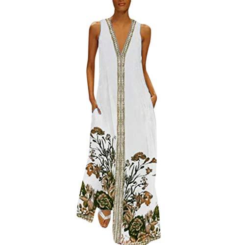 QQ1980s Women's Plus Size Floral Print Summer Long Skirt Beach V-Neck Sleeveless Splicing Vintage Dress Maxi Sundress (Sun Lucky Brand Dress)