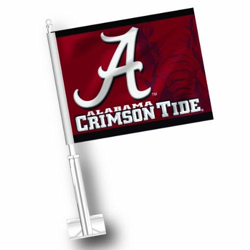 NCAA Alabama Crimson Tide Car Flag Set of 2 (Car Tide Crimson Flag Alabama)