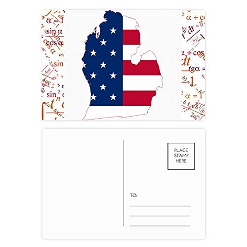 Michigan America USA Map Stars tripes Flag Formula Postcard Set Thanks Card Mailing Side ()