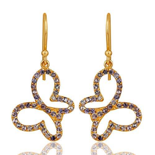 Black Rhodium Plated 925 Sterling Silver Butterfly Dangle Earrings for Women ()