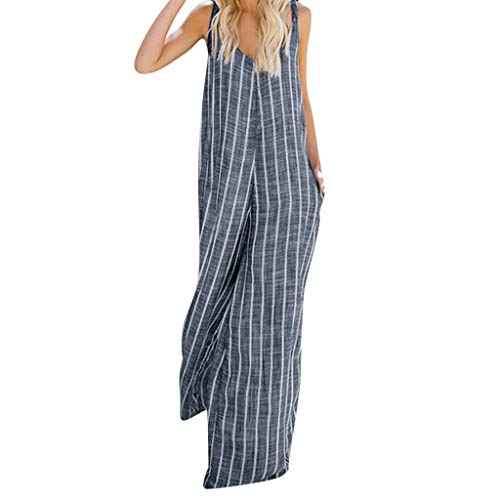 Women's Rompers Elegant Striped Cotton Jumpsuit Loose Plus Size Trousers Wide Leg Playsuit with Pockets Blue ()
