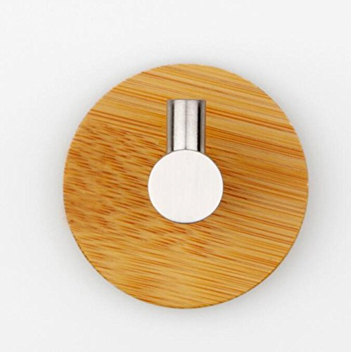 Varnish Bamboo 304 Stainless Steel Hook 3M Adhesive Wall Hooked Metal Door Hook Clothes (Wooden single hook) -