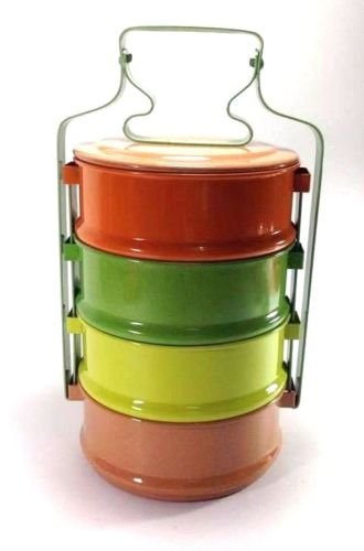 Colorful Classic Thai Antique Traditional 4-stack Lunch Box Food/ Tiffin Carrier by Sandeko