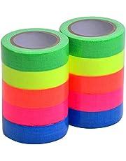 Magiin Neonplakband, 10 rollen, fluorescerende Gaffa-tape, uv-actief, voor kunsthandwerk, decoraties, 5 kleuren, 15 mm x 5 m per rol