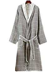 TOPBATHY Bathrobe Autumn Winter Cotton Night Robe Bathing Suits for Woman Adults (Grey L)