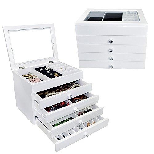 Ikee Design High Gloss View Top Wood Jewelry Storage Chest Box Organizer Tray (White Jewelry Box)