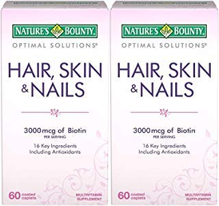 Nature's Bounty Optimal Solutions Hair, Skin & Nails Formula, 120 Coated Caplets (2 X 60 Count) ()