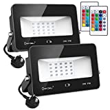 Onforu 2 Pack 35W LED RGB Flood Lights with Remote Control, IP66 Waterproof Dimmable Decorative Floodlight 16 Colours 4 Modes, Outdoor Color Changing Garden Stage Landscape