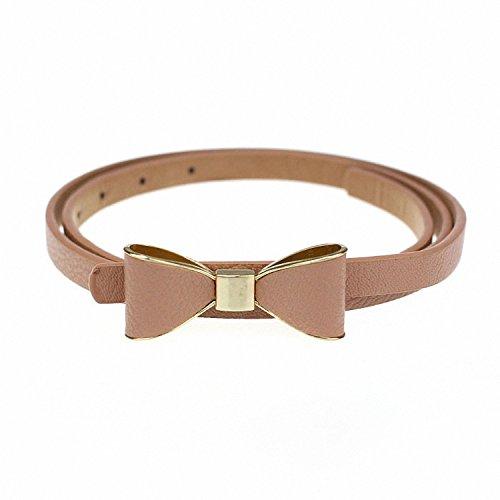 Price comparison product image Baolustre Ostrich Belt Pu Leather Women Belt 2018 Skinny Butterfly Bow Waist Belt Dor Narrow Thin Waistband Pink 101Cm