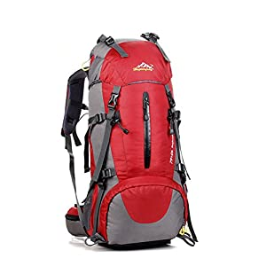 CLIMBEX Waterproof Hiking Backpack with 50L Capacity, Best Hiking Backpack for Camping, Fishing, Touring, Climbing and Mountaineering, Lightweight Hiking Backpack with Rain Cover (RED)