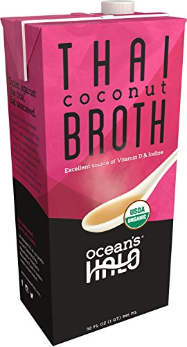 2 Units of Organic Thai Coconut Broth by Ocean's Halo. This delicious kelp-based broth is loaded with authentic flavors plus vitamins, minerals + protein! USDA Organic, GF Ingredients & Vegan -