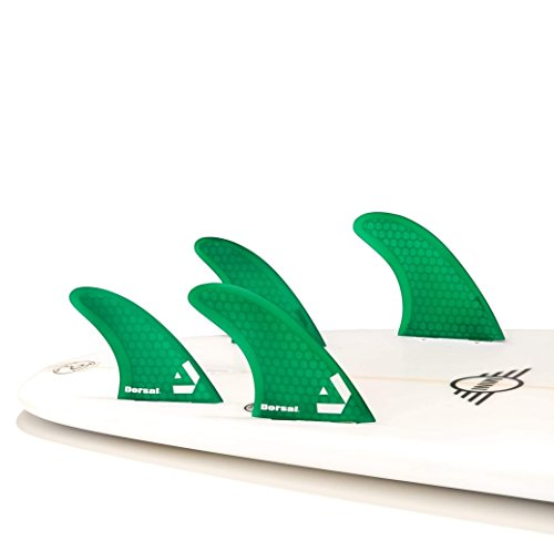 Dorsal Surfboard Fins Hexcore Quad Set (4) Honeycomb FCS Base Green by Dorsal
