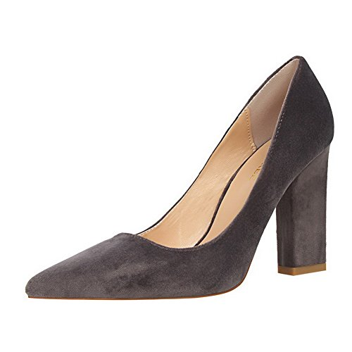Amoonyfashion Womens Hoge Hakken Pull-on Geïmiteerd Suède Puntschoen Pompen-schoenen Grijs
