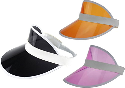 Ababalaya Unisex SPF 50+ UV Protection PVC Wide Brim Transparent Sun Visor Hat - Visor Transparent Pink