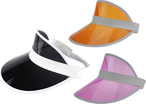 Ababalaya Unisex SPF 50+ UV Protection PVC Wide Brim Transparent Sun Visor Hat - Transparent Visor Pink