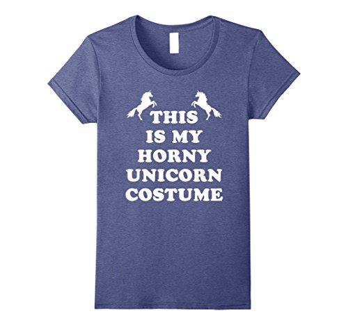Womens This Is My Horny Unicorn Costume Shirt Funny Halloween Tee Medium Heather (Funny Pair Costume Ideas)